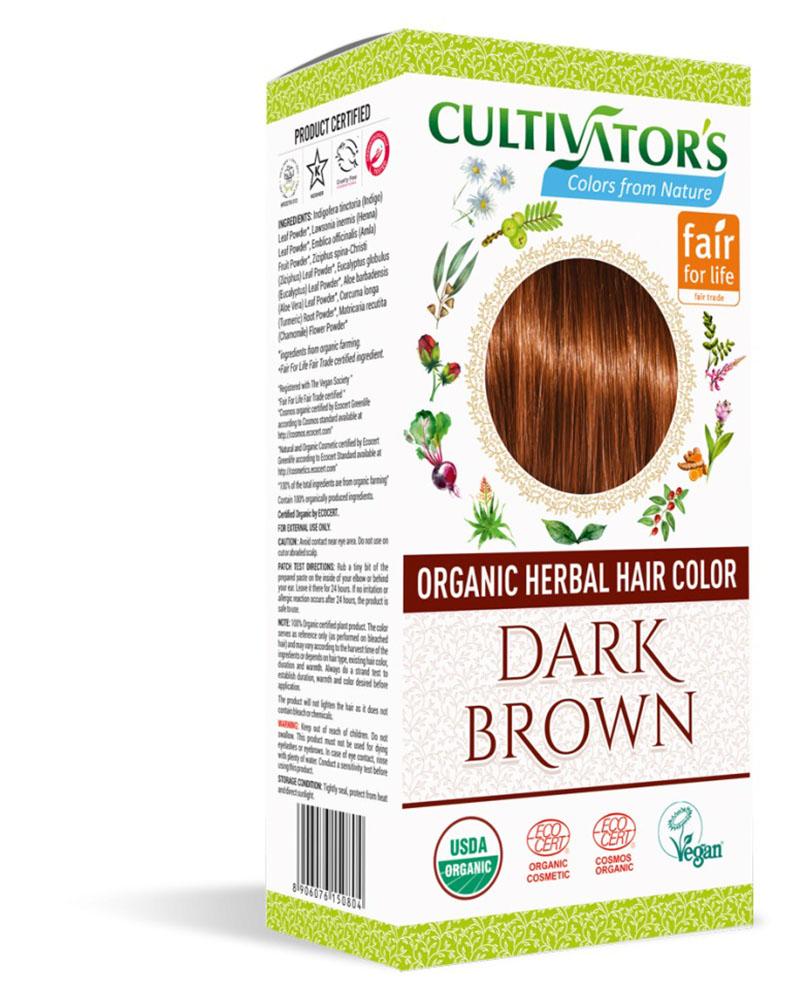 Био билкова боя за коса - тъмнокафяво - Cultivator's