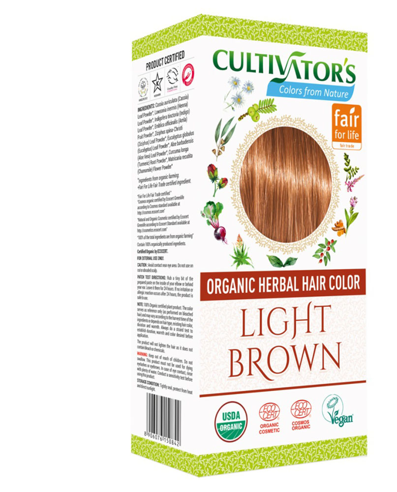 Био билкова боя за коса - светлокафяво - Cultivator's