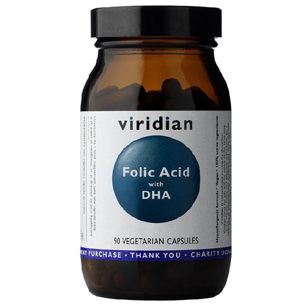 Фолиева киселина (Folic acid) с DHA, 90 капсули, Viridian