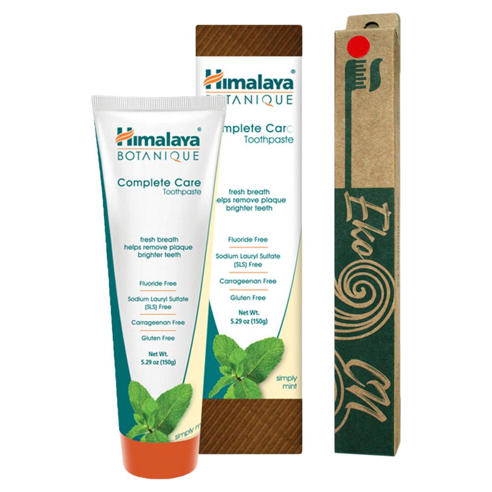 ПРОМО ПАКЕТ: Бамбукова четка за възрастни + Botanique Паста за зъби за цялостна грижа - Мента