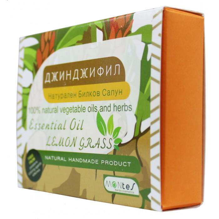 Натурален Билков Сапун - Джинджифил За лице и тяло с етерично масло Лимонова Трева