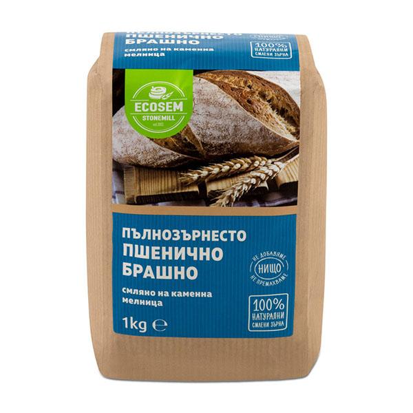 Натурално пълнозърнесто пшенично брашно, 1 кг